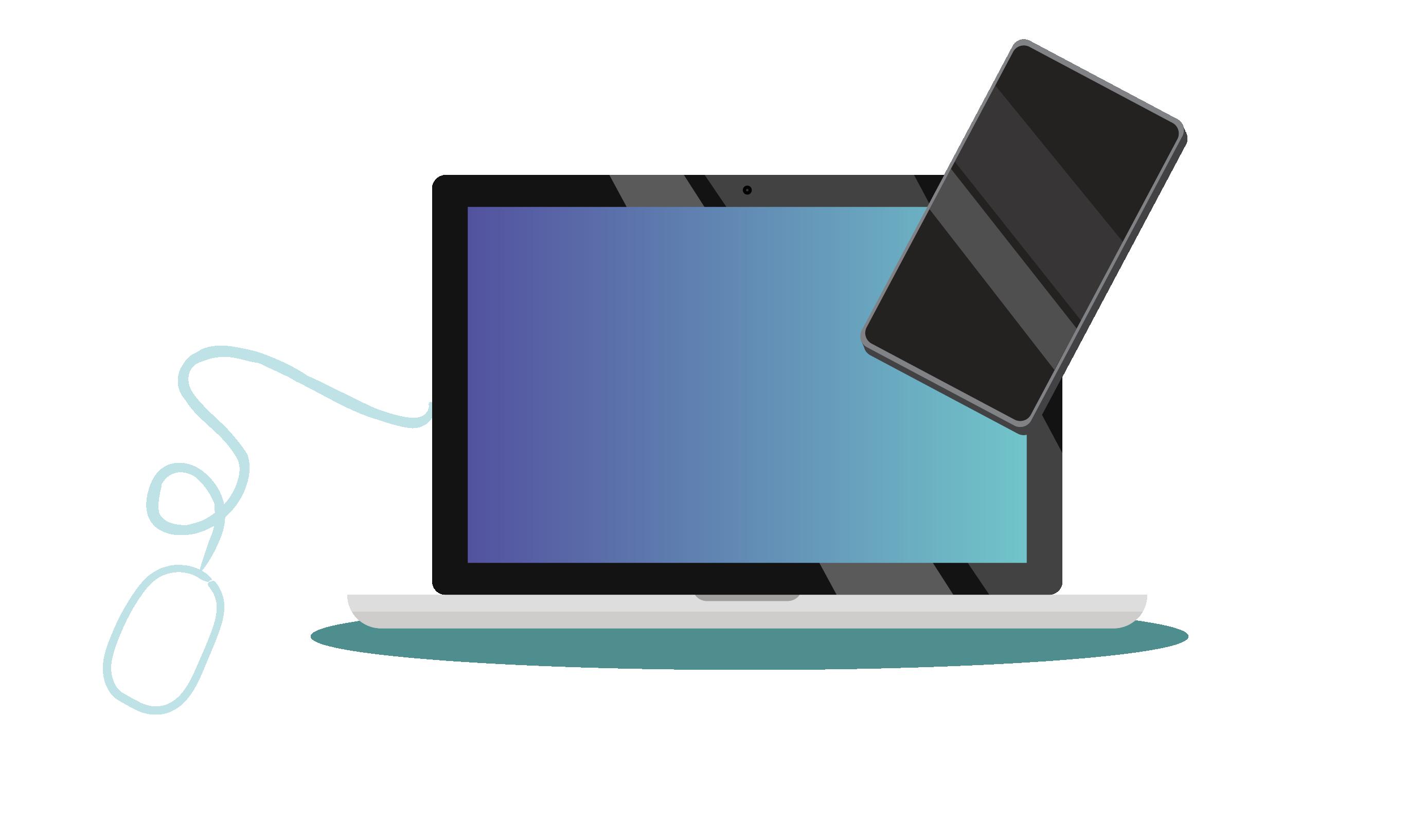 Illu Laptop, Handy und Maus LizenzKERN